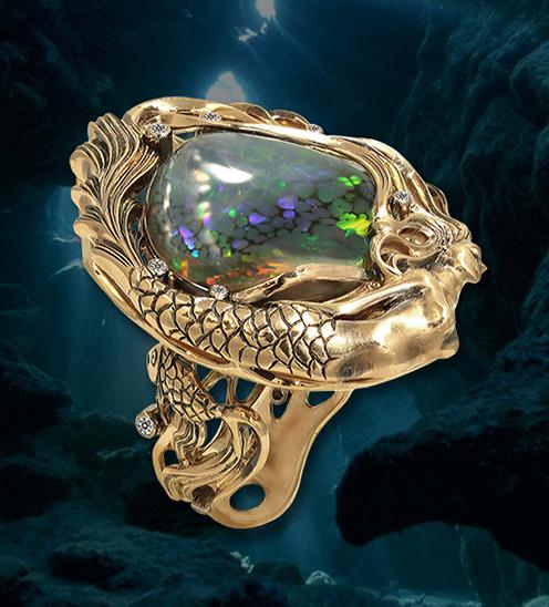 20942c9da390 Ювелир Игорь Орлов. Авторское кольцо ручной работы. Золото, бриллианты,  черный опал.