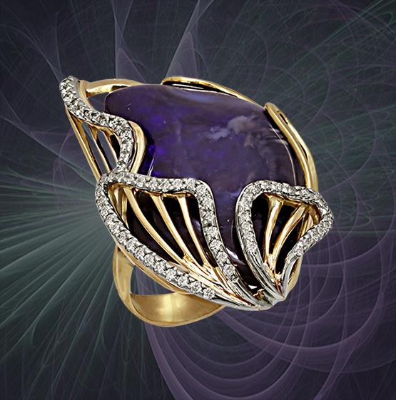 76738ab64144 Ювелир Игорь Орлов. Авторское кольцо ручной работы. Золото, бриллианты,  австралийский опал.
