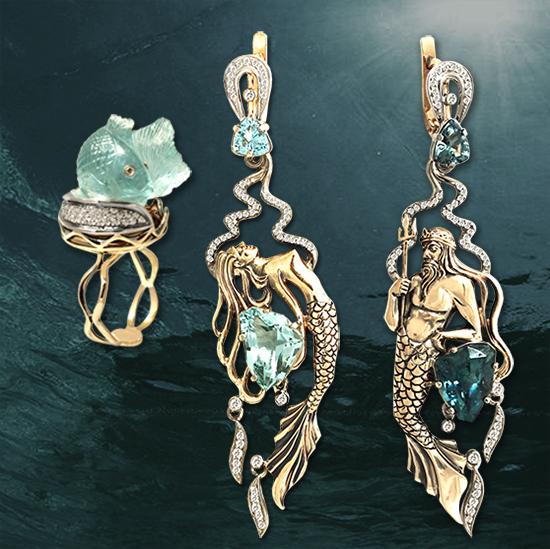 1eea9f976597 Ювелир Игорь Орлов. Авторские серьги и кольцо. Золото, бриллианты,  аквамарины.