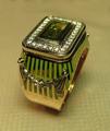 золото 585 пробы,вес 16 грамм,бриллианты,хризолит,горячая эмаль