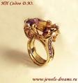 Золотое кольцо с аметрином, аметистами и цитринами