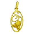 Красивый женский кулон из желтого золота 750 пробы со вставкой из золотого самородка 860 пробы.
