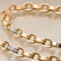Шикарные колье и браслет из желтого золота, 750. 1,6 карат бриллиатов