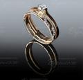 Двойное кольцо с бриллиантами из красного золота. Щелкните по стрелке в углу, чтобы увеличить.