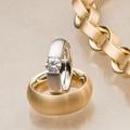 Почувствуйте себя свободными подобно этому бриллианту. Белое и желтое золото, 750.