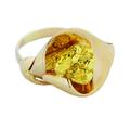 Женское кольцо из золота 585 пробыв форме цветка каллы со вставкой из золотого самородка 860 пробы.