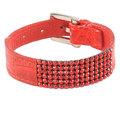 Стильный женский браслет из натуральной кожи красного цвета, инкрустированный кристаллами Swarovski.