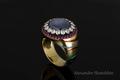 золото 750 пробы, звезчатый сапфир, бриллианты,рубины ,горячая эмаль