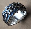 Кольцо - ручной работы.     Материалы и техника: серебро, чеканка.