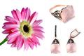 Розовое золото585 проба с чернением, 16 бриллиантами на 0,07 карат, розовый кварц 27,96 карат.