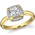 Золотое кольцо с муассанитом и бриллиатами суммарным весом 1 карат по цене 30900 руб
