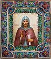 икона Александр Невский живопись: финифть, оклад: серебро