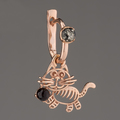 Серёжка тигрёнок, серебро 925*, позолота, янтарь