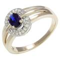 Золотое кольцо 1 сапфир 0.66 карата и 18 бриллиантов 0.11 карата средний вес 4.27 гр.